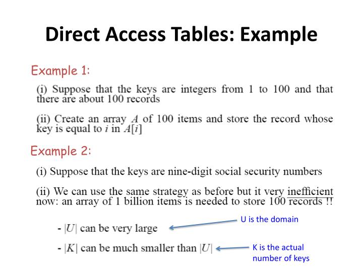 Direct Access Tables: Example