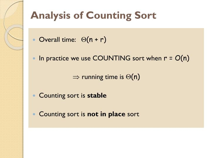 Analysis of Counting Sort