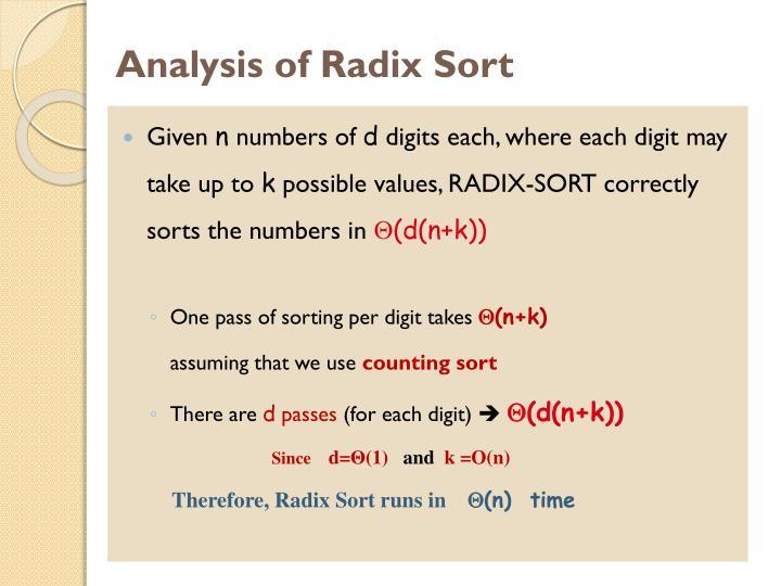 Analysis of Radix Sort