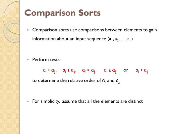 Comparison Sorts