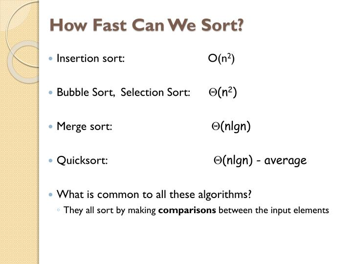 How fast can we sort1