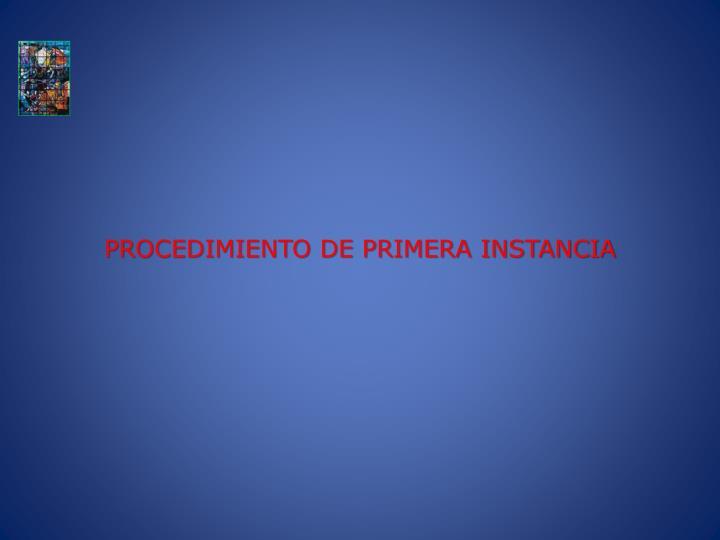 PROCEDIMIENTO DE PRIMERA INSTANCIA