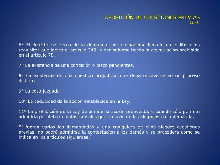 OPOSICIÓN DE CUESTIONES PREVIAS