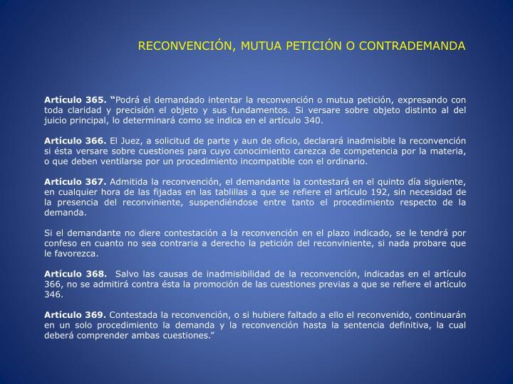 RECONVENCIÓN, MUTUA PETICIÓN O CONTRADEMANDA