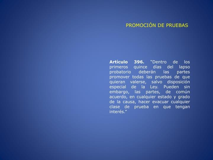 PROMOCIÓN DE PRUEBAS