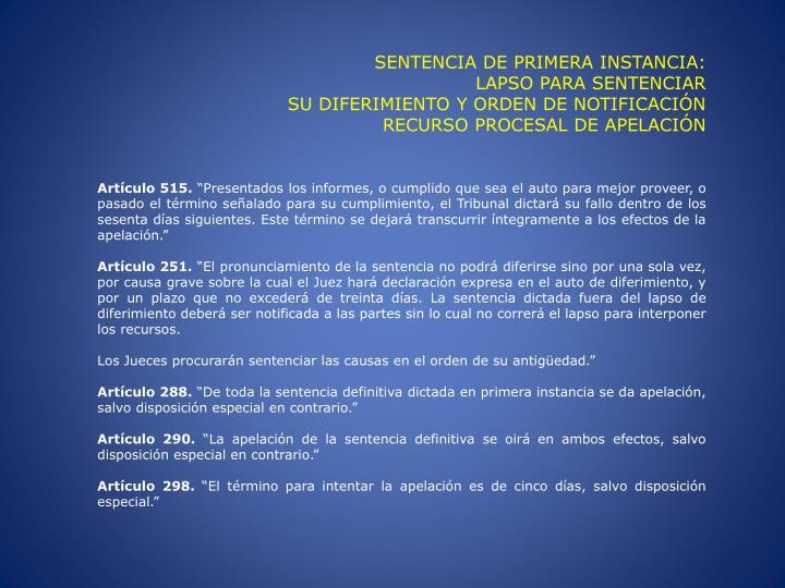 SENTENCIA DE PRIMERA INSTANCIA: