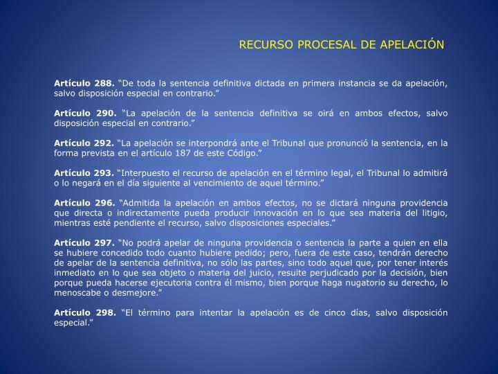 RECURSO PROCESAL DE APELACIÓN