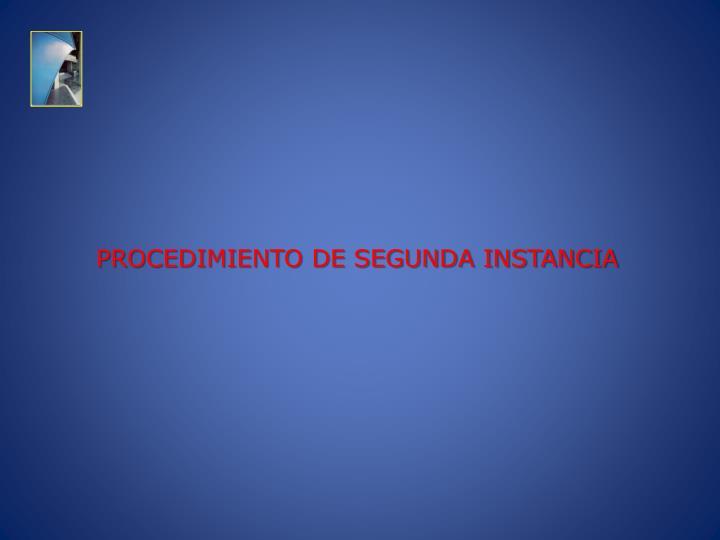 PROCEDIMIENTO DE SEGUNDA INSTANCIA