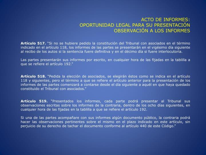 ACTO DE INFORMES: