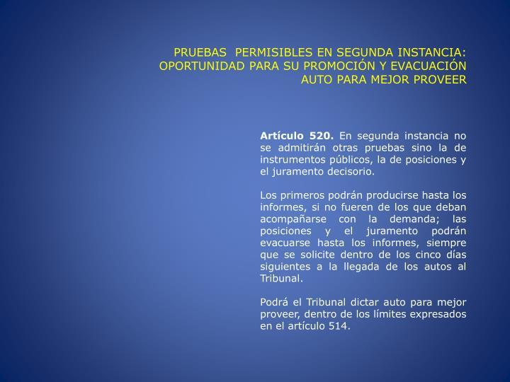 PRUEBAS  PERMISIBLES EN SEGUNDA INSTANCIA: