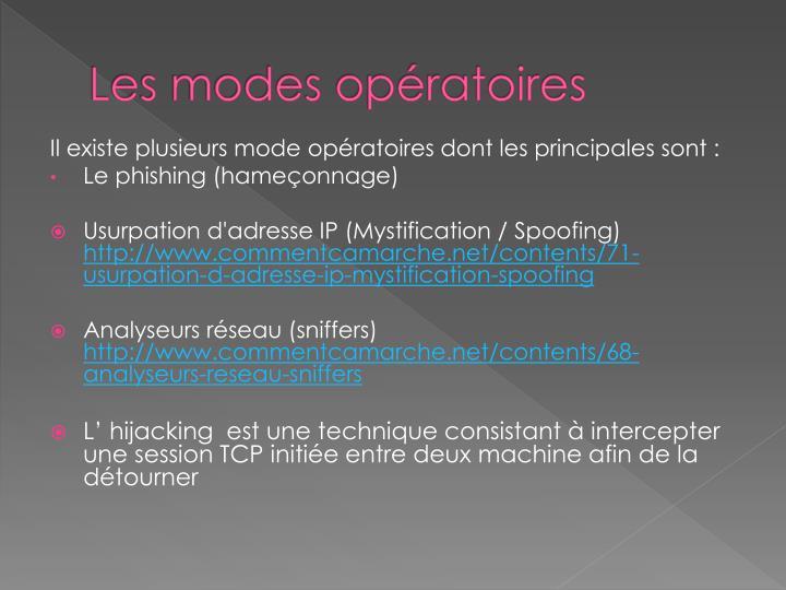 Les modes opératoires