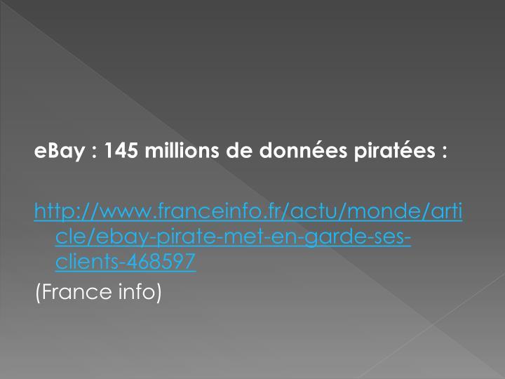 eBay : 145 millions de données piratées :
