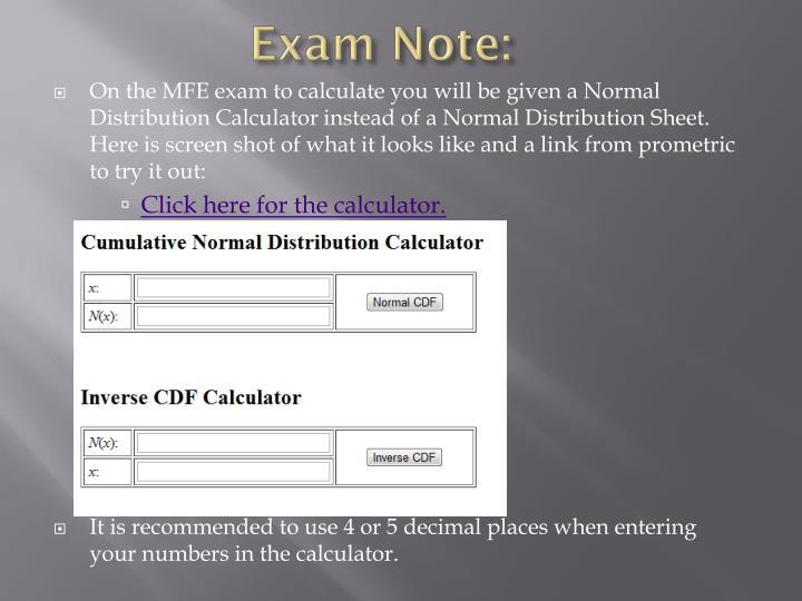 Exam Note: