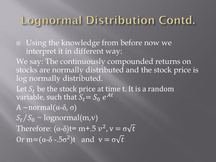 Lognormal distribution contd