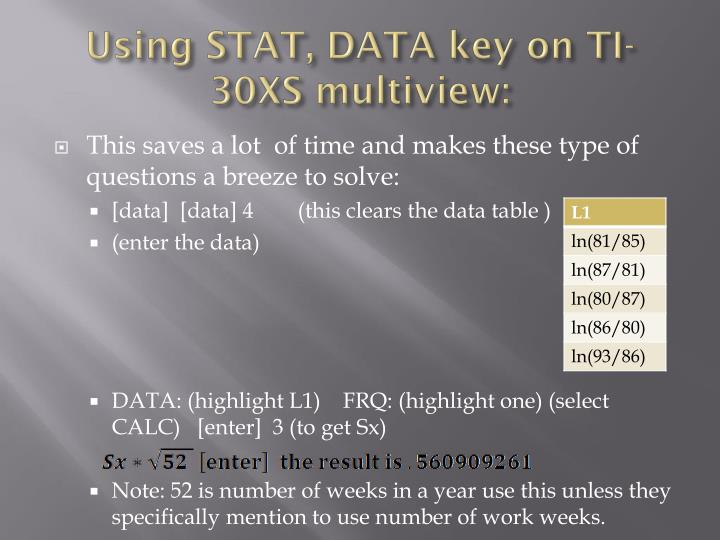 Using STAT, DATA key on TI-30XS