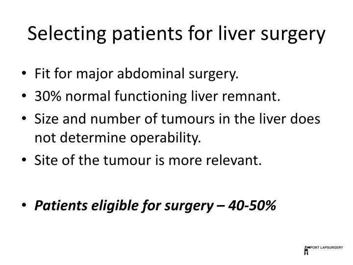 Selecting patients for liver surgery
