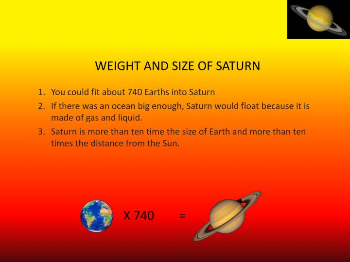WEIGHT AND SIZE OF SATURN