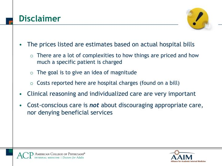 The prices listed are estimates based on actual hospital bills