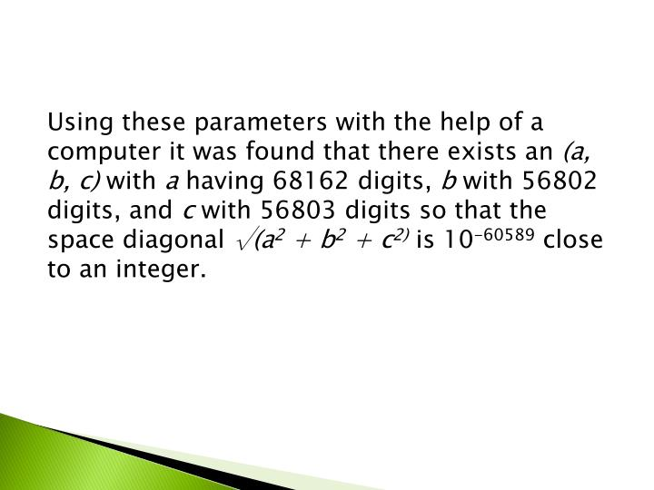 Using these parameters with the help of a computer it was found that there