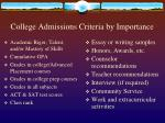 college admissions criteria by importance