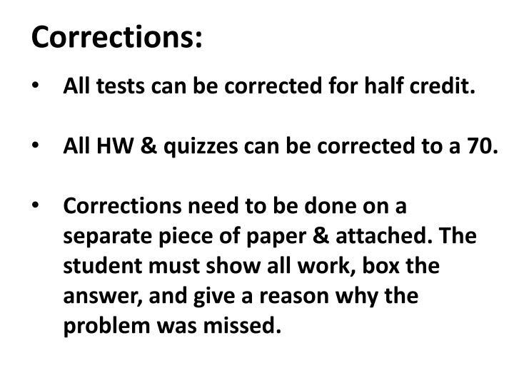 Corrections: