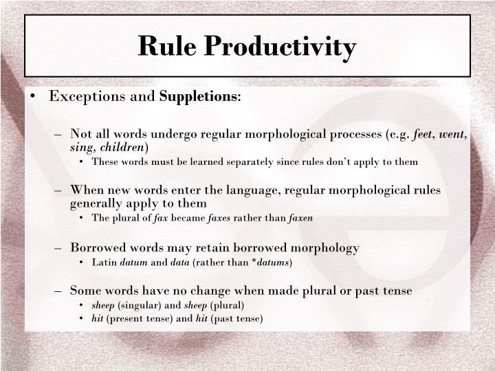 Rule Productivity