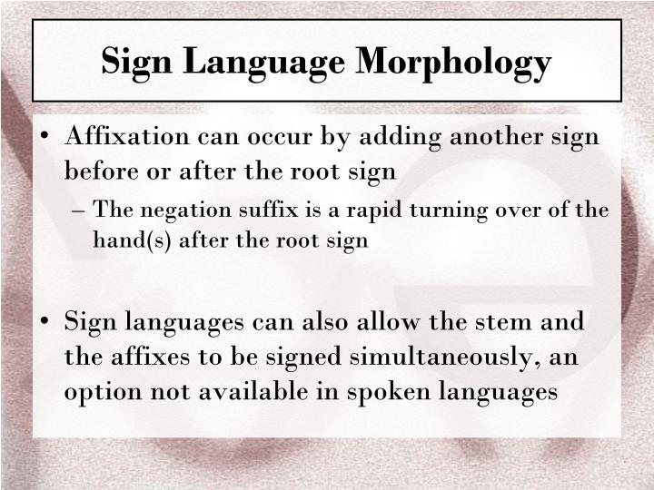 Sign Language Morphology