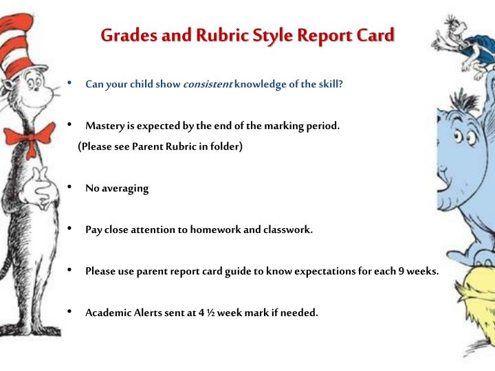Grades and Rubric Style Report Card