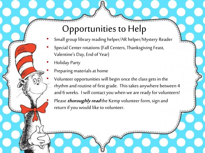Opportunities to Help