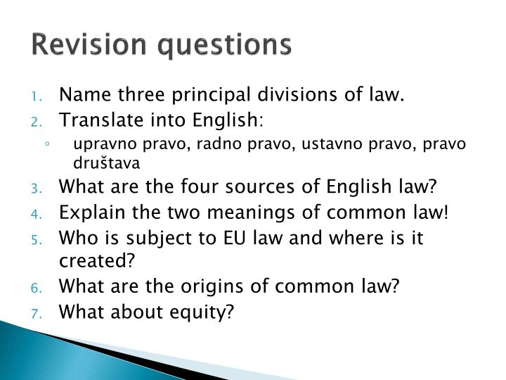 Revision questions