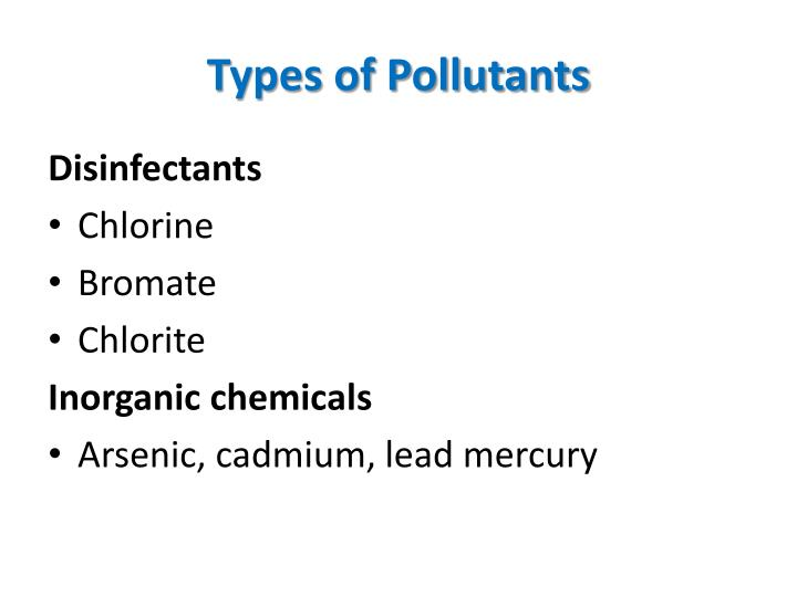 Types of pollutants1