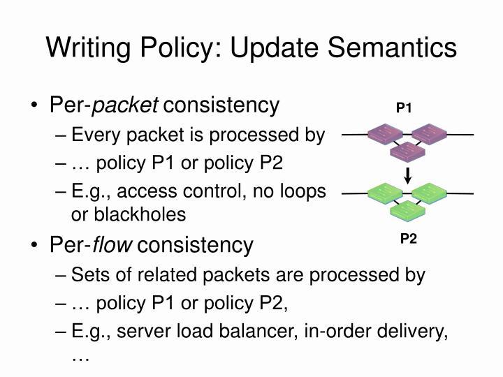 Writing Policy: Update Semantics