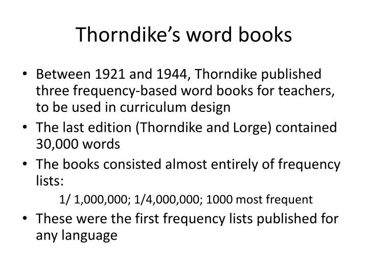 Thorndike's word books