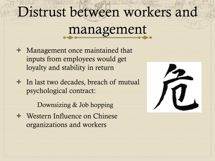 D istrust between workers and management