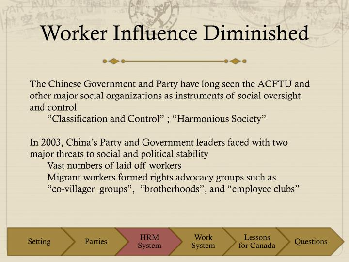 Worker influence diminished