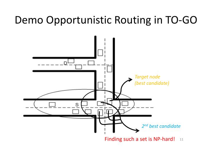 Demo Opportunistic Routing in TO-GO