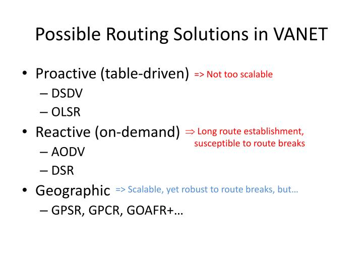 Possible routing solutions in vanet