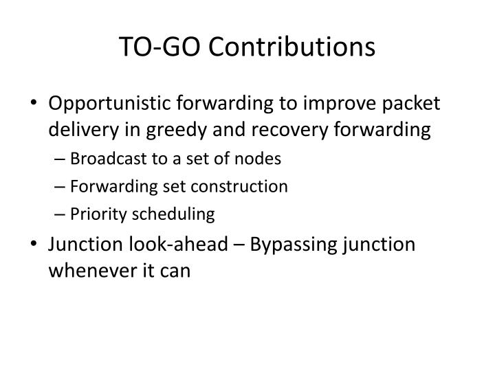TO-GO Contributions