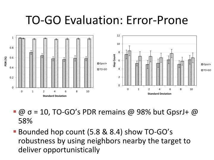 TO-GO Evaluation: Error-Prone