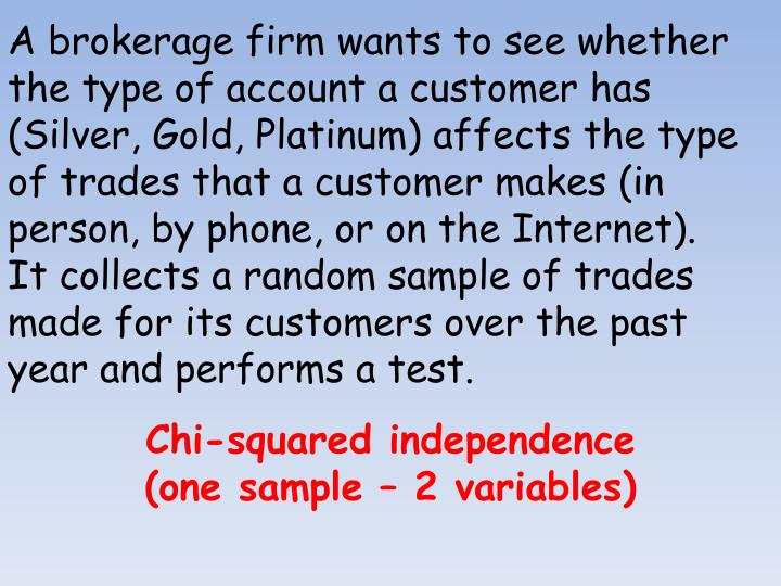 A brokerage firm wants to see whether the type of account a customer has (Silver, Gold, Platinum) affects the type of trades that a customer makes (in person, by phone, or on the Internet).  It collects a random sample of trades made for its customers over the past year and performs a test.