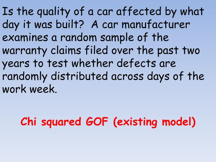 Is the quality of a car affected by what day it was built?  A car manufacturer examines a random sample of the warranty claims filed over the past two years to test whether defects are randomly distributed across days of the work week.