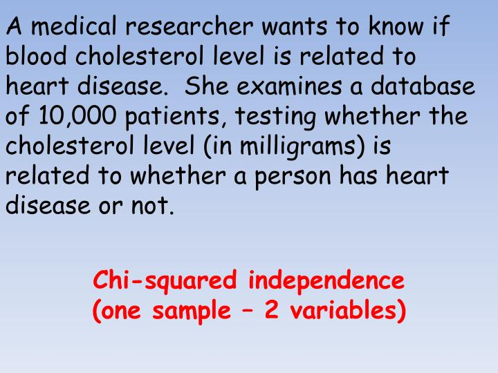 A medical researcher wants to know if blood cholesterol level is related to heart disease.  She examines a database of 10,000 patients, testing whether the cholesterol level (in milligrams) is related to whether a person has heart disease or not.