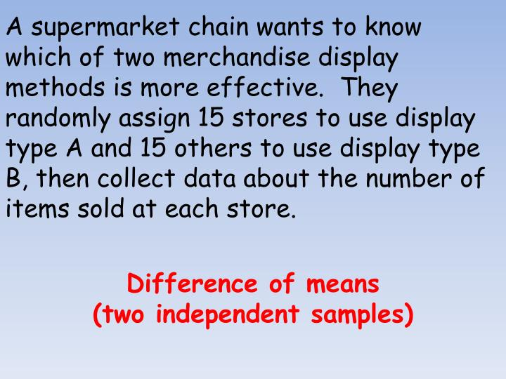 A supermarket chain wants to know which of two merchandise display methods is more effective.  They randomly assign 15 stores to use display type A and 15 others to use display type B, then collect data about the number of items sold at each store.