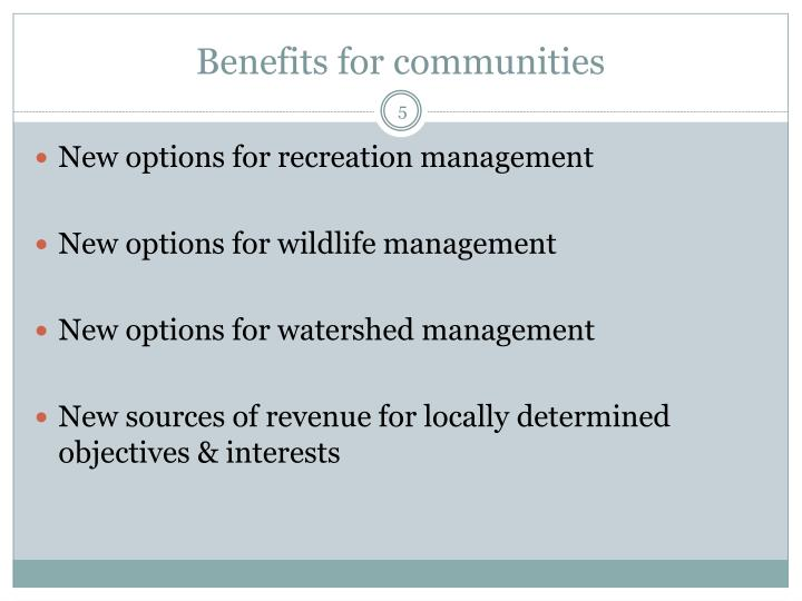 Benefits for communities