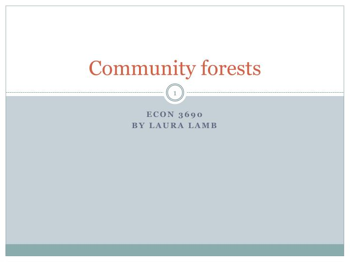 Community forests