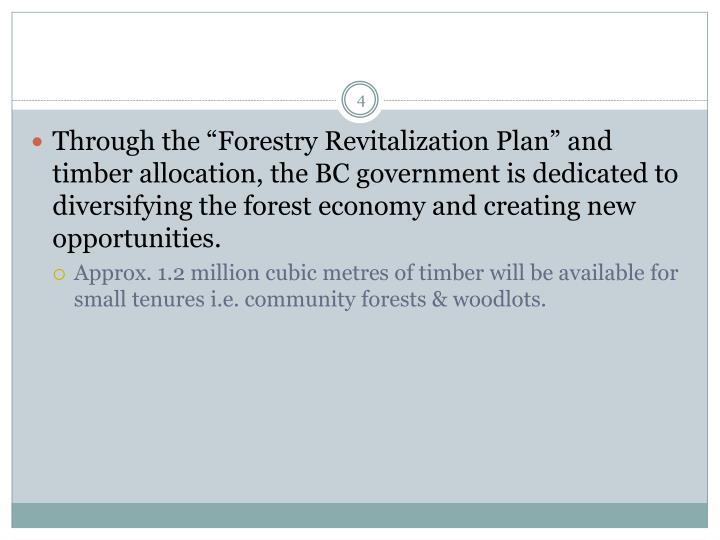 "Through the ""Forestry Revitalization Plan"" and timber allocation, the BC government is dedicated to diversifying the forest economy and creating new opportunities."