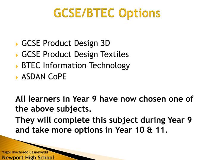GCSE/BTEC Options