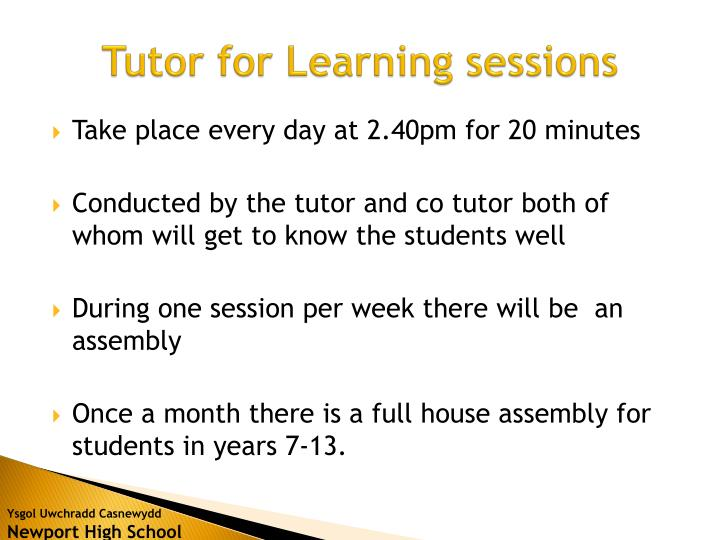 Tutor for Learning sessions