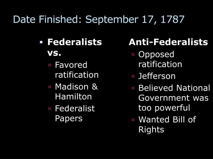 Date Finished: September 17, 1787