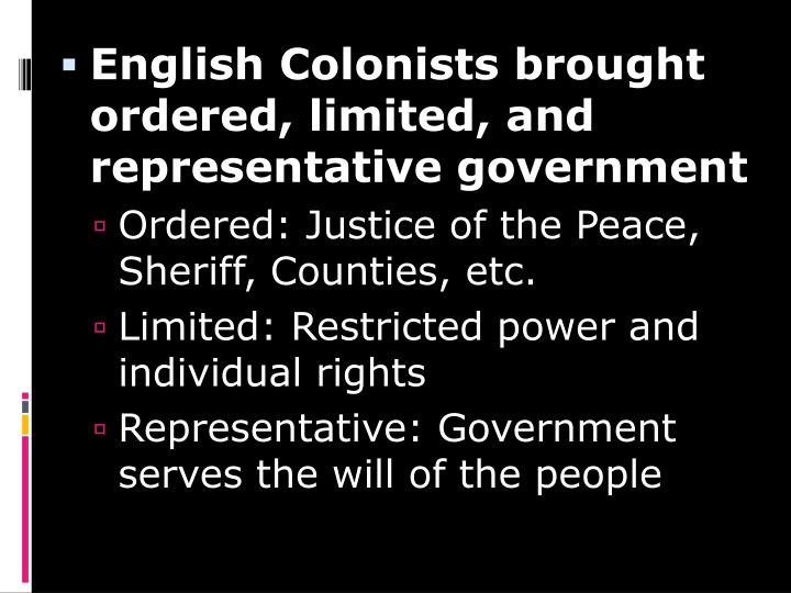 English Colonists brought ordered, limited, and representative government